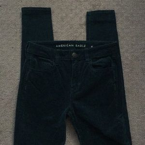 American Eagle Hi-Rise forest cord jeggings 4